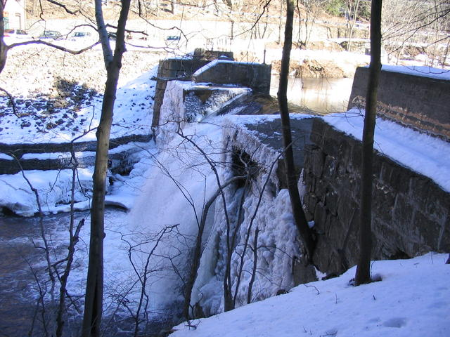 Old Mill ice on waterfall